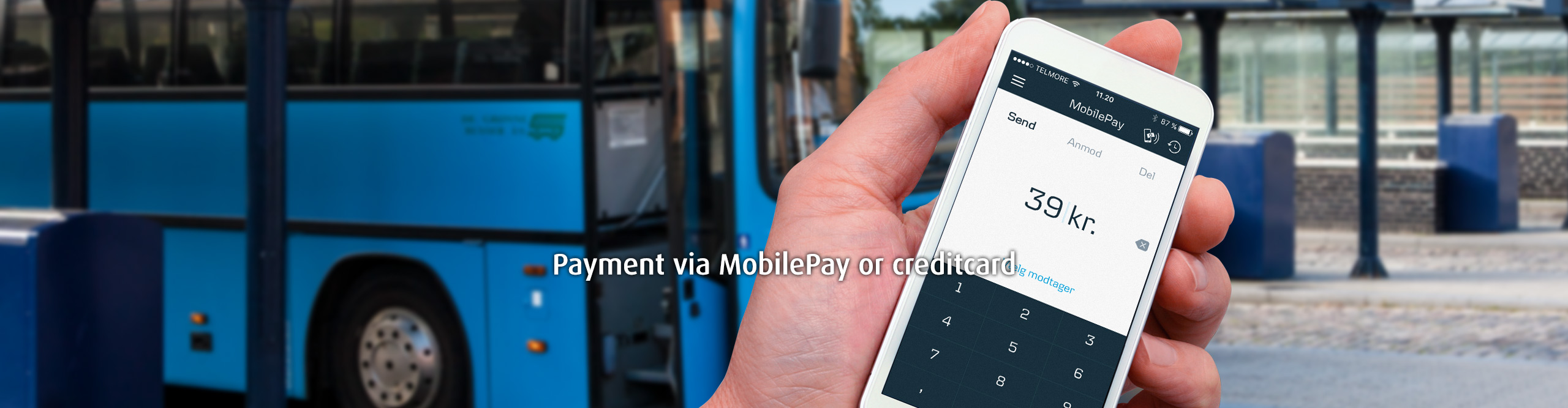 Payment via MobilePay or creditcard.